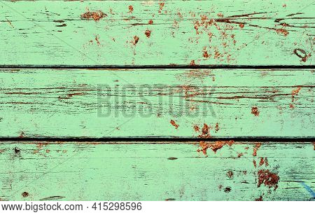 Obsolete Weathered Cracked Textured Painted Green Wood Background