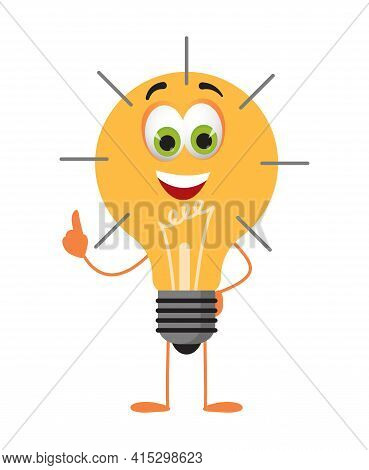 Funny Bulb Lamp With Eyes On White Background, Idea Concept, Flat Design Vector Illustration