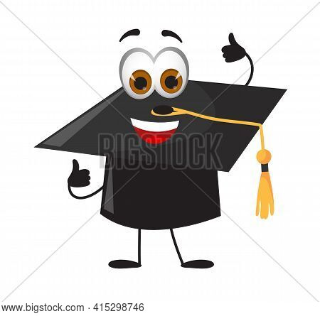 Funny Academic Cap - Trencher-cap With Eyes On White Background, Flat Design Vector Illustration