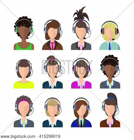 Vector Female Call Center Avatars In A Flat Style With A Headset, Conceptual Of Business Communicati