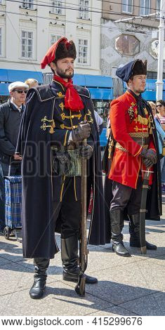Zagreb, Croatia, September 2016 - The Royal Cravat Regiment At The Changing Of The Guard In The City