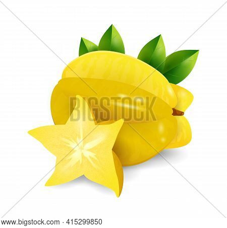 Carambola Fruit - Exotic Fruits Collection, Realistic Design Vector Illustration Close-up