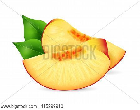Peach Fruit - Exotic Fruits Collection, Realistic Design Vector Illustration Close-up