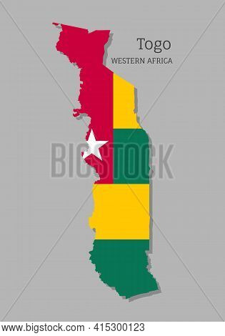 Map Of Togo With National Flag. Highly Detailed Map Of Western Africa Country