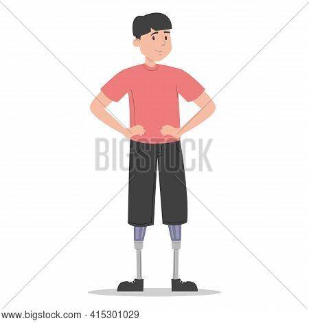 Happy Young Man With The Prosthetic Legs