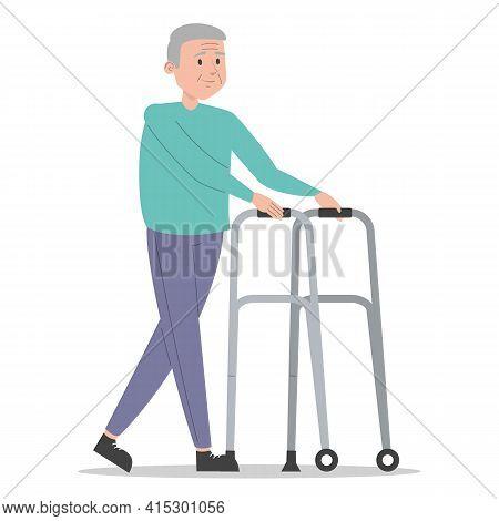 Old Man Walking Using Walker Vector Isolated