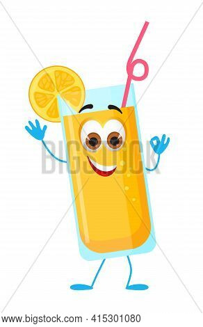 Funny Lemonade With Eyes - Summer Things Collection. Cartoon Funny Characters, Flat Vector Illustrat