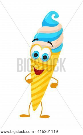 Funny Ice Cream With Eyes - Summer Things Collection. Cartoon Funny Characters, Flat Vector Illustra