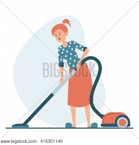 Woman Vacuum Cleaning The Floor At Home