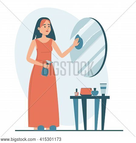 Woman Cleaning The Mirror Isolated. Female Character