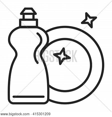 Icon Of A Clean Dish And Detergent