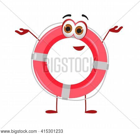 Funny Lifebuoy With Eyes - Summer Things Collection. Cartoon Funny Characters, Flat Vector Illustrat