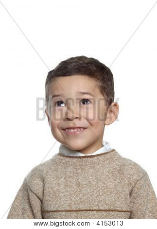 Five-Year-Old Boy In Tan Sweater