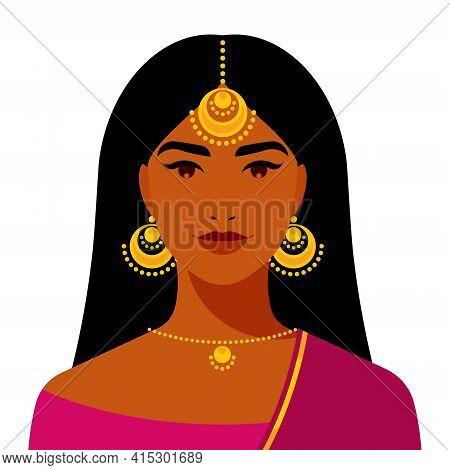 Beautiful Woman - Indian Woman With Long Hair, Gold Earrings, Bindi. Ethnic Girl, Indian Culture. Po
