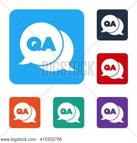 White Speech Bubbles With Question And Answer Icon Isolated On White Background. Q And A Symbol. Faq