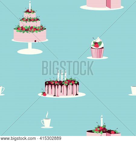 Cakes Seamless Pattern Decorated With Fresh Berries. The Cake Is Decorated With Fresh Strawberries A