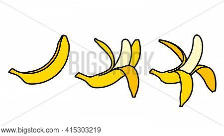 Bananas Icons - Whole Banana, Peeled Banana, Ready To Eat Banana. Set Of Fruits On White Background.