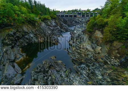 View Of The Gorge And Dam Of The Saint John River In Grand Falls, New Brunswick, Canada
