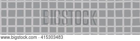 Modern Paint Brush Graph Grid Vector Seamless Border. Monochrome Grey Banner With Varying Handmade P