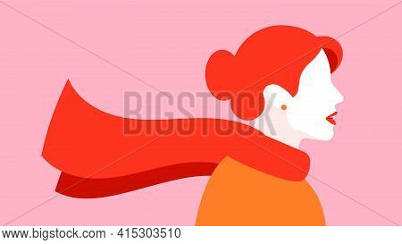 Abstract Art Poster With Silhouette Of Woman In Scarf. Red Haired Woman In Red Scarf. Concept Of Aut