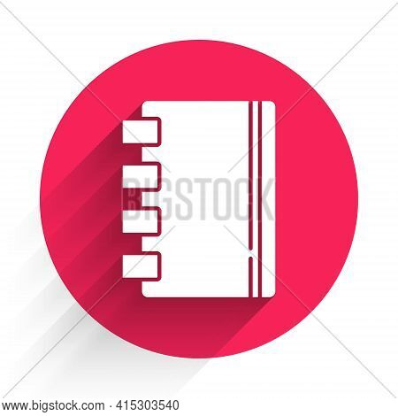 White Notebook Icon Isolated With Long Shadow. Spiral Notepad Icon. School Notebook. Writing Pad. Di