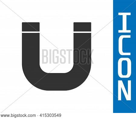 Grey Magnet Icon Isolated On White Background. Horseshoe Magnet, Magnetism, Magnetize, Attraction. V