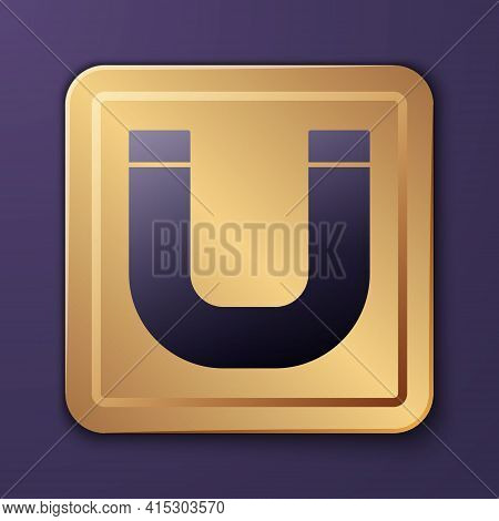 Purple Magnet Icon Isolated On Purple Background. Horseshoe Magnet, Magnetism, Magnetize, Attraction