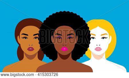Multi-ethnic Beauty. Different Ethnicity Women: African, European, Latin American. Women Different N