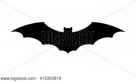 Bat. Black Silhouette Of Bat With Open Wings. Halloween Holiday Symbol. White Background