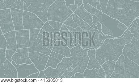 Grey Vector Background Map, Amman City Area Streets And Water Cartography Illustration. Widescreen P