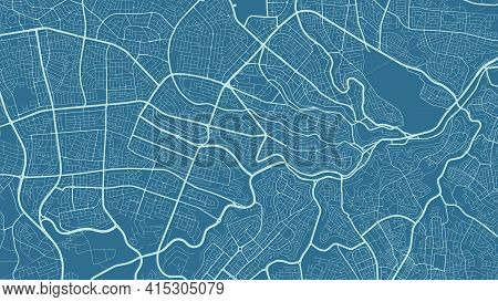 Dark Cyan Vector Background Map, Amman City Area Streets And Water Cartography Illustration. Widescr