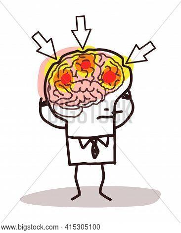 Hand Drawn Cartoon Man Suffering Because Of A Headache