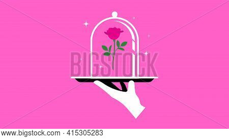 Red Rose Under Glass Dome. Waiter's Hand With Tray. Concept Of Offer, Gift, Surprise, Benefit, Desir
