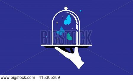 Blue Butterflies In Glass Dome. Waiter's Hand With Tray. Concept Of Offer, Gift, Surprise, Benefit,