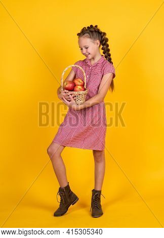 Happy Teen Girl With Red Apple Fruit, Harvest