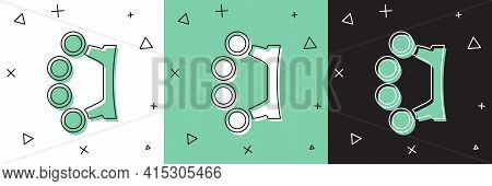 Set Brass Knuckles Icon Isolated On White And Green, Black Background. Vector
