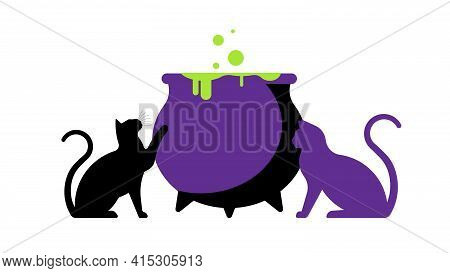 Black Cats And Cauldron With Magic Potion. The Concept Of Witchcraft, Magic, Witch Recipes, Poison,