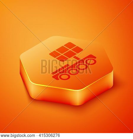 Isometric Mars Rover Icon Isolated On Orange Background. Space Rover. Moonwalker Sign. Apparatus For