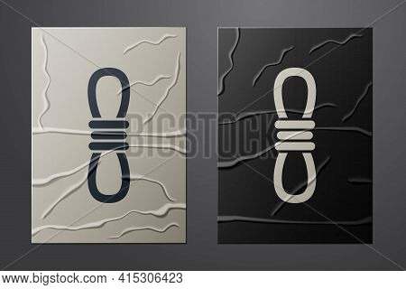 White Climber Rope Icon Isolated On Crumpled Paper Background. Extreme Sport. Sport Equipment. Paper