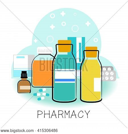 Medical Liquid Bottles, Pills, Vector Flat Illustration. Pharmacy Shopping Icons. The Concept Of The