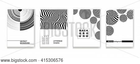 Black-and-white Texture Of The Lines, A Set Of Vertical Layouts In A4 Format. Abstract Layout With A