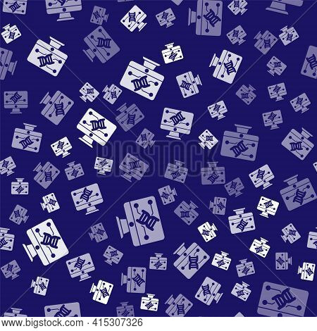 White Genetic Engineering Modification On Monitor Icon Isolated Seamless Pattern On Blue Background.
