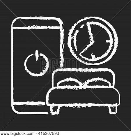 Sleep Hygiene Chalk White Icon On Black Background. Healthy Nighttime Routine. Bedtime Activity. Sch