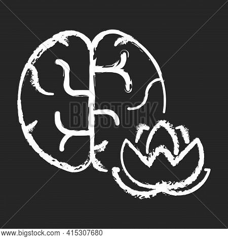 Practicing Mindfulness Chalk White Icon On Black Background. Meditation For Peace Of Mind. Yoga For