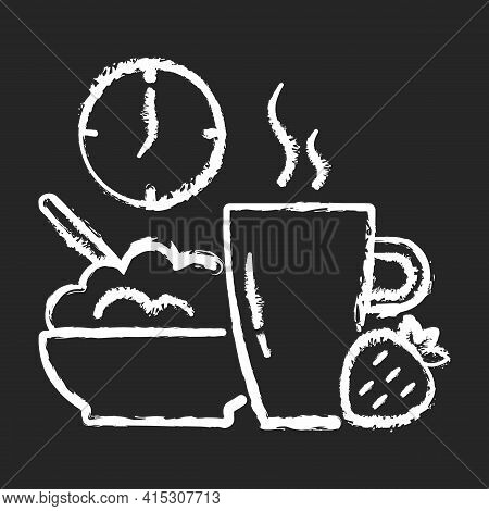 Healthy Breakfast Chalk White Icon On Black Background. Start Of Day With Nutrient Meal. Oatmeals Fo