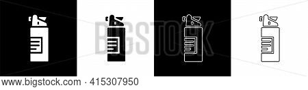Set Weapons Oil Bottle Icon Isolated On Black And White Background. Weapon Care. Vector