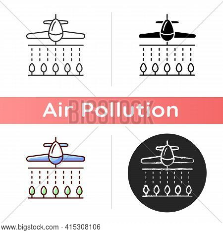 Pesticides Icon. Dangerous Toxic Substances That Are Meant To Control Pests But Pollutes Ground. Lin