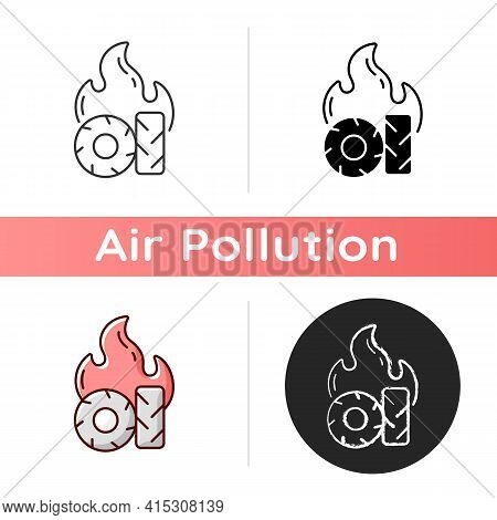 Burning Tires Icon. Tire Fire Emissions Include Dangerous Pollutants Such As Carbon Monoxide And Oxi