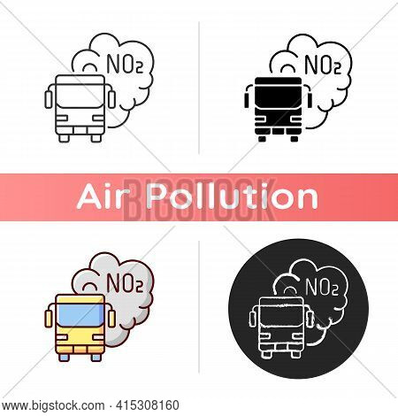 Trucks And Buses Icon. Main Source Of Nitrogen Dioxide Resulting From Combustion Of Fossil Fuels. Li