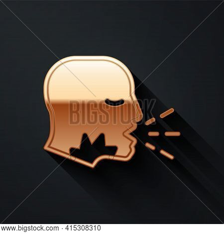 Gold Man Coughing Icon Isolated On Black Background. Viral Infection, Influenza, Flu, Cold Symptom.